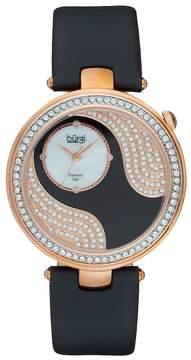 Burgi Women's Diamond & Crystal Leather Watch