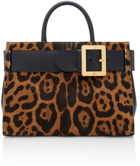 Bally Leather-Paneled Leopard-Print Calf Hair Shoulder Bag