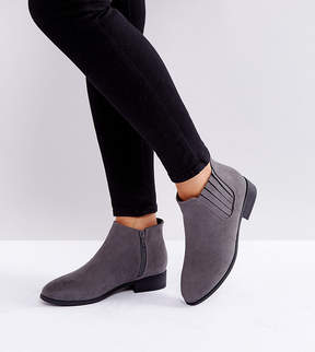 New Look Wide Fit Suedette Flat Ankle Boot
