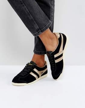Gola Bullet Suede Sneakers In Black With Gold Detail