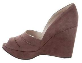 Robert Clergerie Suede Peep-Toe Pumps