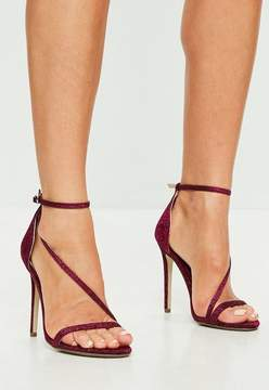 Missguided Burgundy Glitter Asymmetric Barely There Sandal Heels