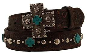 Ariat A1517802-L 1.5 in. Womens Silver & Turquoise Cross Belt, Brown - Large