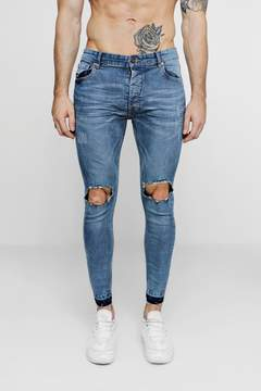 boohoo Pale Blue Skinny Fit Ripped Knee Jeans