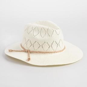 World Market Ivory Crochet Rancher Hat