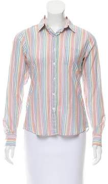 Steven Alan Stripe-Accented Button-Up Top