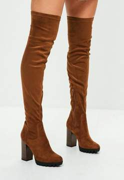 Missguided Tan Faux Suede Pleated Sole Over The Knee Boots