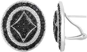 Black Diamond 2 1/3 Carat T.W. Sterling Silver Button Stud Earrings