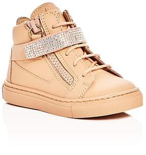 Giuseppe Zanotti Girls' Birel Vague Swarovski Crystal Lace Up Sneakers - Walker, Toddler, Little Kid