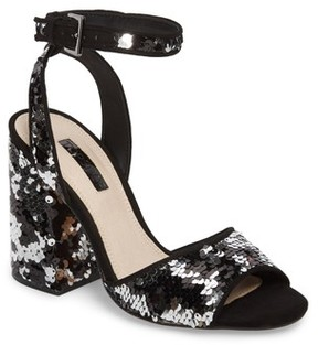 Topshop Women's Reaction Sequin Block Heel Sandal