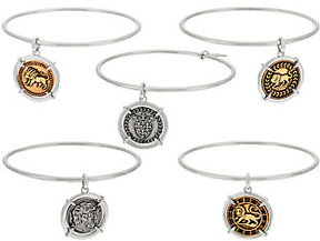 Elizabeth Taylor As Is The set of 5 Silvertone Coin Charm Bangles