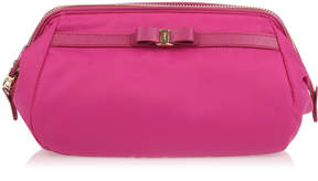 Salvatore Ferragamo Raspberry Nylon Cosmetic Bag