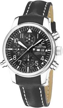 Fortis F-43 Flieger Black Dial Chronograph Men's Watch