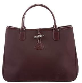 Longchamp Leather-Trimmed Roseau Tote - BURGUNDY - STYLE