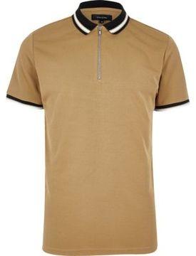 River Island Mens Camel brown zip placket polo shirt