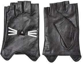 Karl Lagerfeld K/Ikonik Embellished Fingerless Leather Gloves