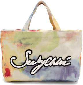See by Chloe Logo-embroidered tie-dye canvas tote