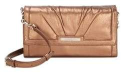 Donna Karan Metallic Flap Leather Clutch