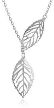 Alpha A A Silver Tone 18 Leaf Womens Fashion Necklace
