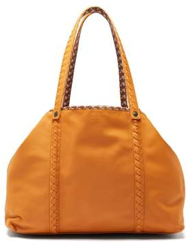 Bottega Veneta Reversible Butterfly Print Canvas And Leather Tote - Womens - Orange Multi