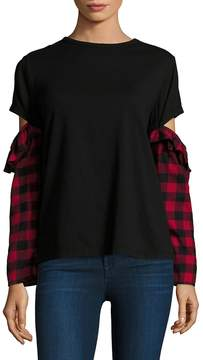 Clu Women's Mixed Media Open-Sleeve Cotton Top - Black-red, Size l