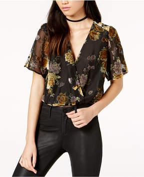 Astr Eliza Burnout Floral Surplice Bodysuit