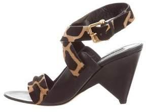 Derek Lam Ponyhair-Trimmed Leather Sandals