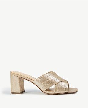 Ann Taylor Honor Metallic Leather Heeled Sandals
