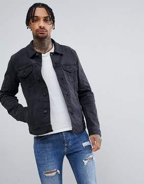 Asos Denim Jacket In Washed Black