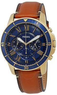 Fossil Grant Blue Dial Men's Chronograph Leather Watch