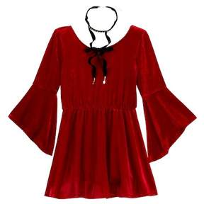 My Michelle mymichelle Bell Sleeve Velvet Dress with Necklace (Big Girls)