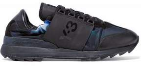 Y-3 Rhita Leather And Suede-Paneled Printed Shell Sneakers