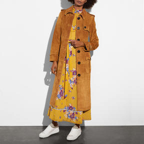 COACH SUEDE TRENCH COAT - f59779 - BAMBOO