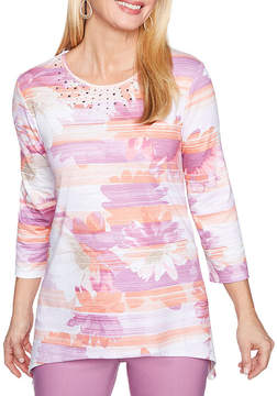 Alfred Dunner Los Cabos 3/4 Sleeve Crew Neck Stripe T-Shirt-Womens