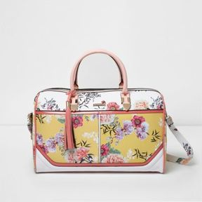 River Island Womens Yellow floral print weekend bag