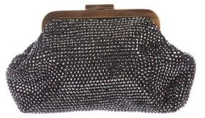 Dolce & Gabbana Embellished Suede Clutch - BLACK - STYLE