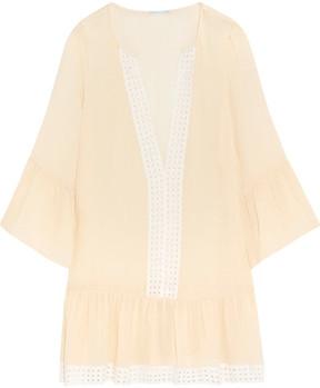 Eberjey Tessa Broderie Anglaise-trimmed Crinkled Gauze Mini Dress - Cream