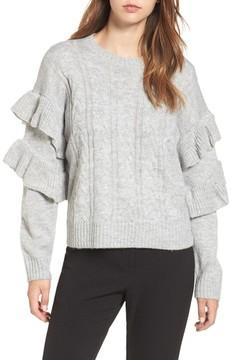WAYF Women's Sophie Ruffle Sleeve Sweater