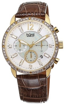 Burgi Crystal Chronograph Brown Leather Mother of Pearl Dial Ladies Watch