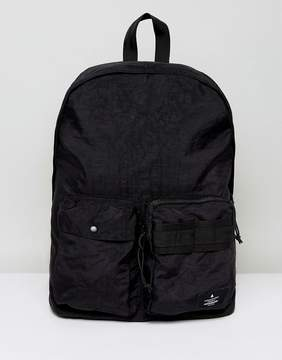 Asos Backpack In Black Textured Finish With Front Pocket Detail