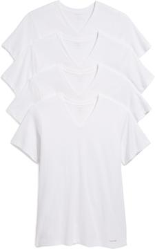 Calvin Klein Underwear 4 Pack Cotton Classic Short Sleeve V Neck Tee