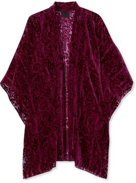 Anna Sui Fairy Fields Devoré-chiffon Kimono - Purple