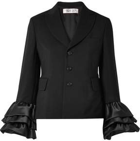 Comme des Garcons Ruffled Satin-trimmed Wool And Mohair-blend Jacket - Black