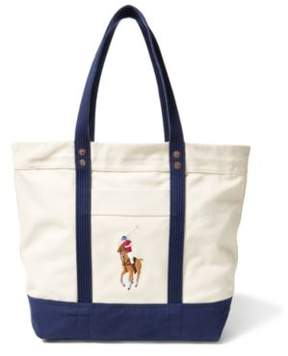 Ralph Lauren Canvas Big Pony Tote Natural/Navy One Size