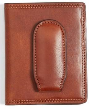 Bosca Men's Leather Front Pocket Money Clip Wallet - Brown