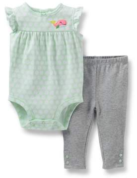 Carter's Baby Clothing Outfit Girls 2-Piece Bodysuit & Pant Set Mint 24M