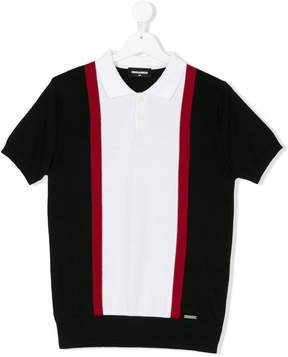 DSQUARED2 Teen striped polo shirt