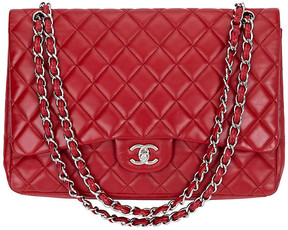 One Kings Lane Vintage Chanel Red Lambskin Maxi Single-Flap Bag - Vintage Lux