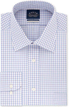 Eagle Men's Classic/Regular Fit Stretch Collar Non-Iron Red and Blue Check Dress Shirt