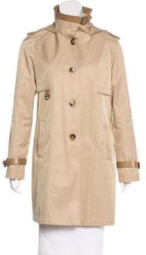 DKNY Leather-Trimmed Hooded Jacket